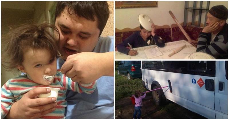 Когда батя берется за воспитание ребенка! (34фото)
