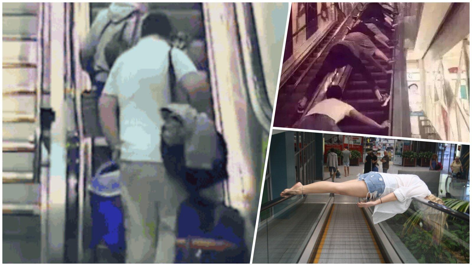 20+ гифок об очень странных людях на эскалаторах (1фото+22гиф)