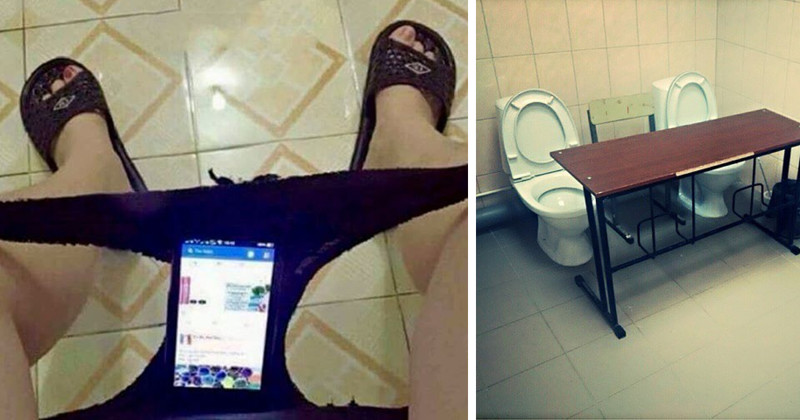 Невероятное может случиться, если на позитиве посещаешь незнакомый туалет (20фото)