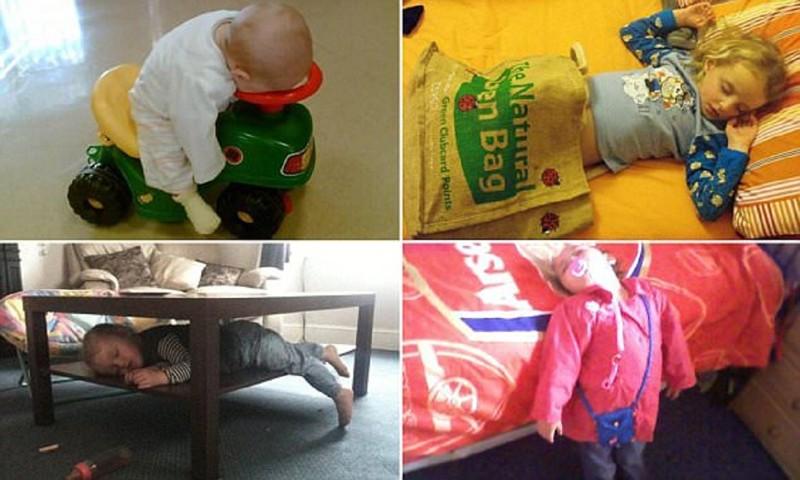 Самые странные места, в которых засыпают дети (8фото)