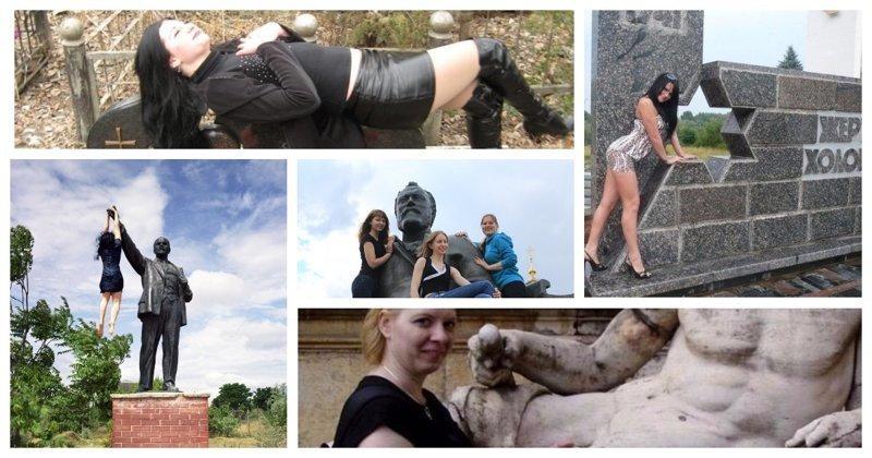 Зачем женщины лезут на памятники? (29фото)