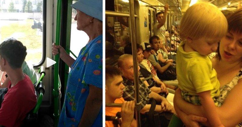 Женщины негодуют: почему мужики перестали уступать места в транспорте (20фото)