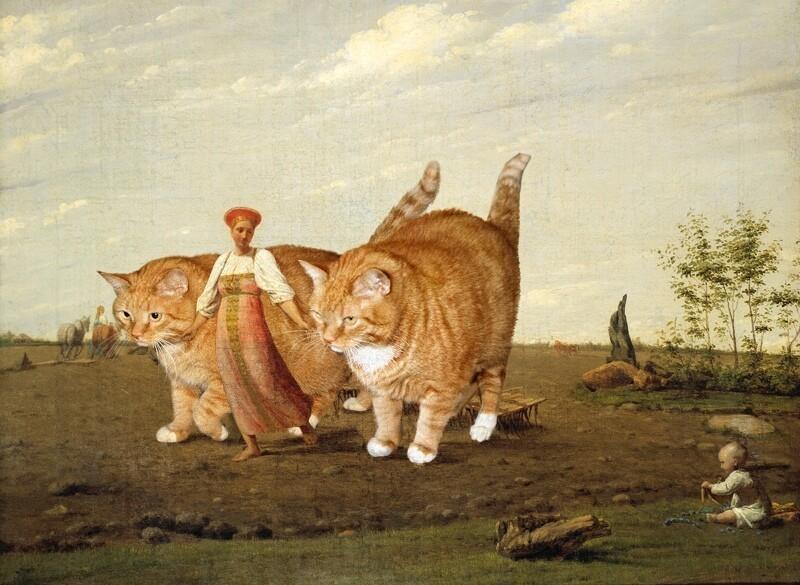 Если добавить толстого котеньку в любую классическую картину, то она только выиграет от этого (24фото)