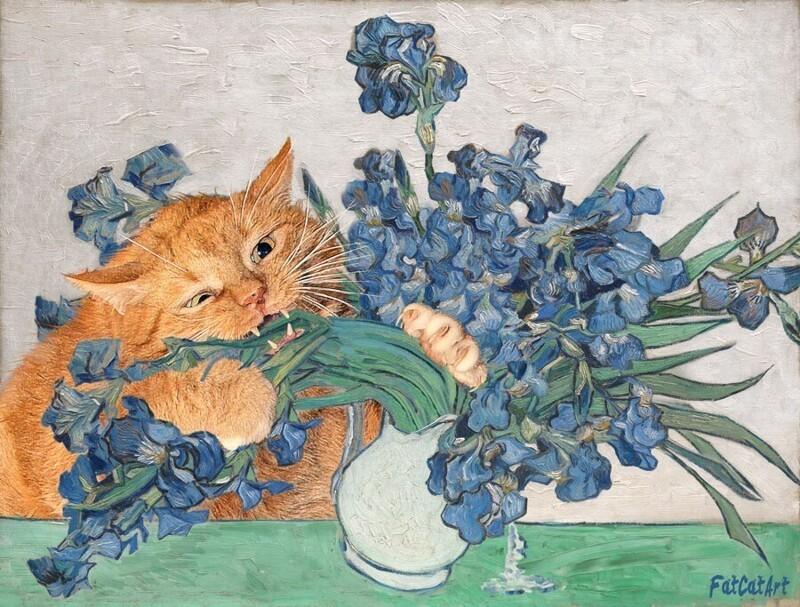 Если добавить толстого котеньку в любую классическую картину, то она только выиграет от этого (26фото)