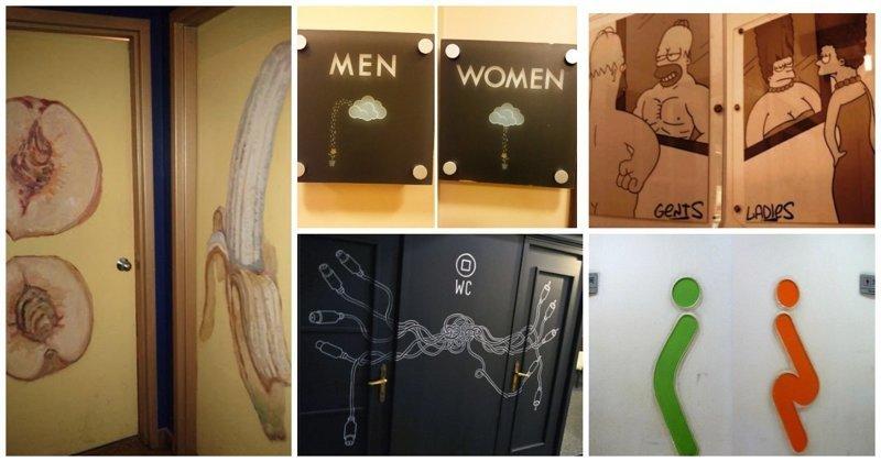 Креативные таблички и двери туалетов: нет банальным