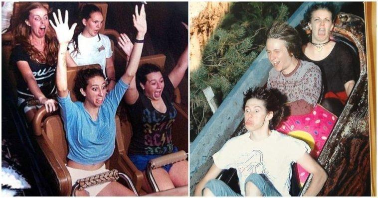 20 забавных фотографий, на которых люди не могут сдержать эмоций на американских горках (21фото)