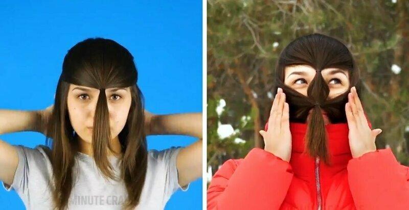 Новый тренд: девушки спасают лицо от мороза, завязывая на нём несколько хвостиков (10фото)