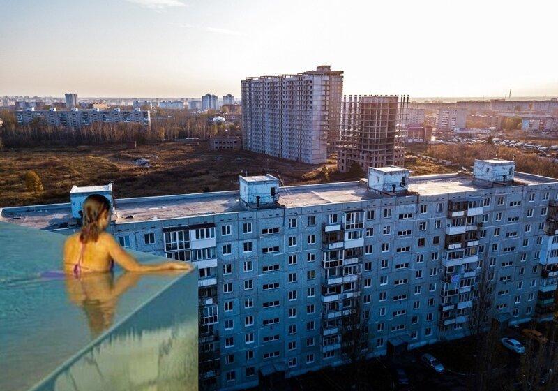 Открытый бассейн с видом на «суровую действительность»— новый флешмоб в Сети (18фото)
