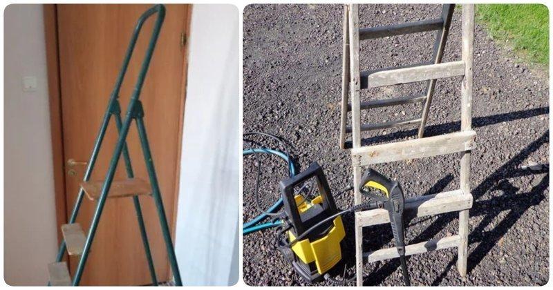 15 крутых идей использования старой лестницы-стремянки, которые впишутся в любой интерьер (20фото)
