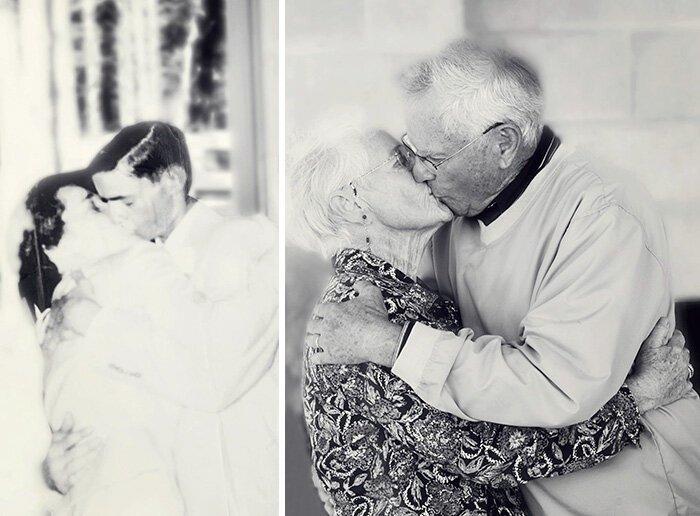 15 супружеских пар воссоздали старые фото и показали, что любить одного человека всю жизнь (15фото)