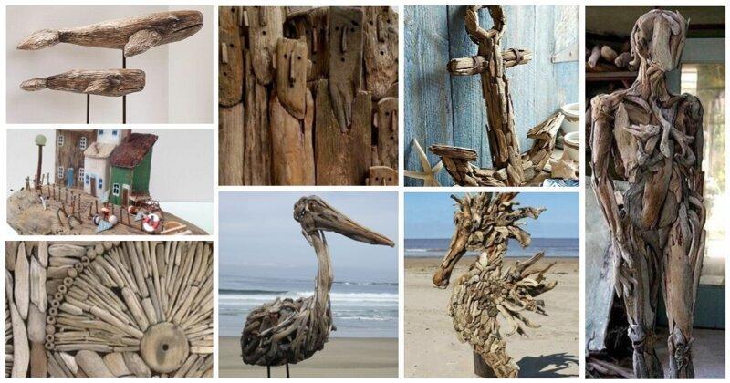 Раз дощечка, два дощечка: искусство из деревяшек, выброшенных морем (28фото)