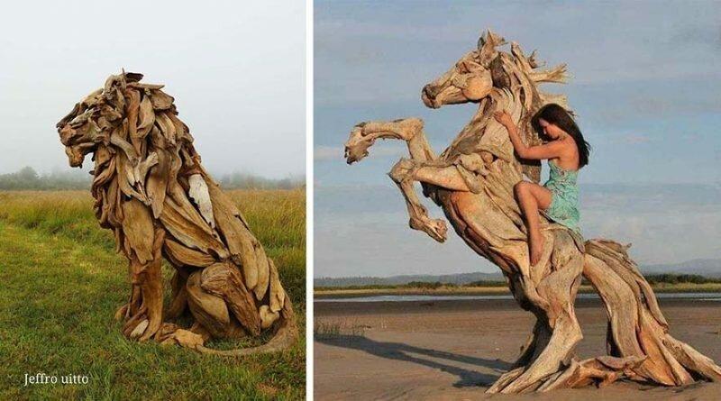 Мастер создает захватывающие дух скульптуры из найденных на пляже сухих деревьев (25фото)
